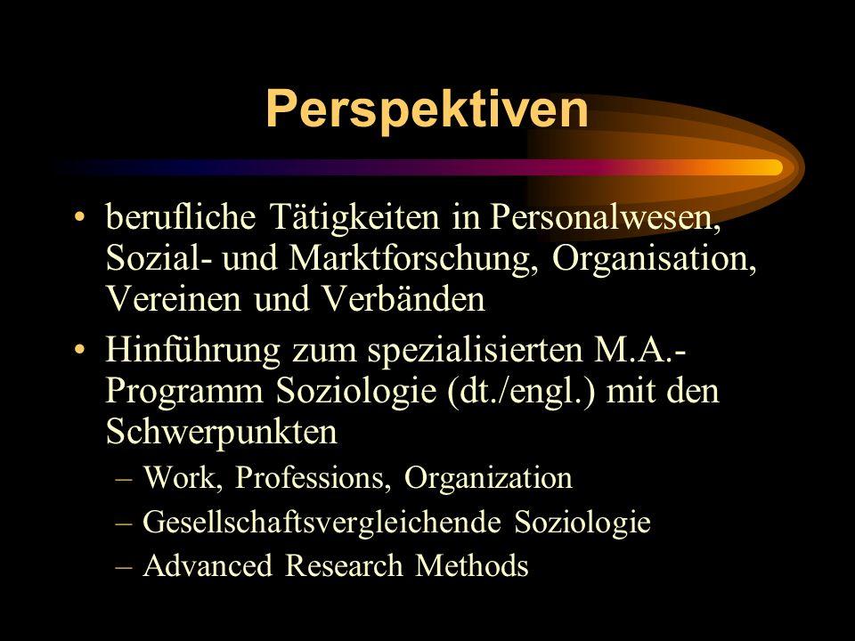 Perspektiven berufliche Tätigkeiten in Personalwesen, Sozial- und Marktforschung, Organisation, Vereinen und Verbänden Hinführung zum spezialisierten