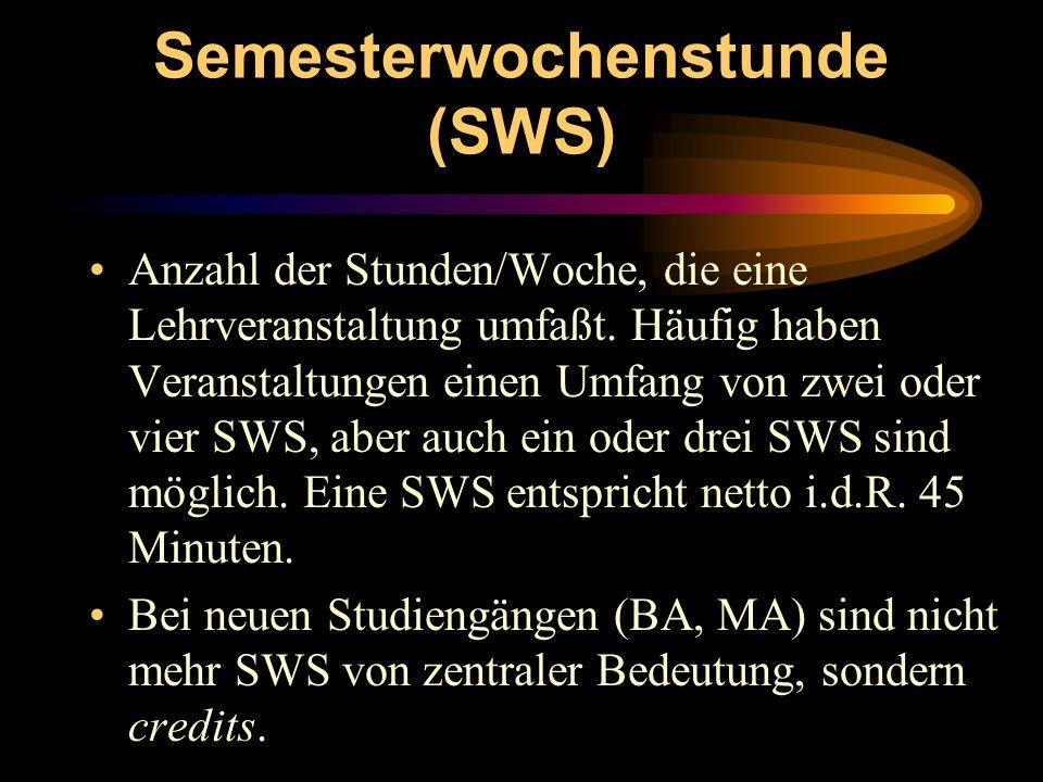 Semesterwochenstunde (SWS) Anzahl der Stunden/Woche, die eine Lehrveranstaltung umfaßt. Häufig haben Veranstaltungen einen Umfang von zwei oder vier S