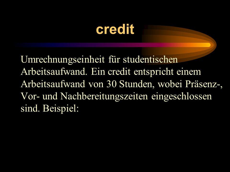 credit Umrechnungseinheit für studentischen Arbeitsaufwand. Ein credit entspricht einem Arbeitsaufwand von 30 Stunden, wobei Präsenz-, Vor- und Nachbe