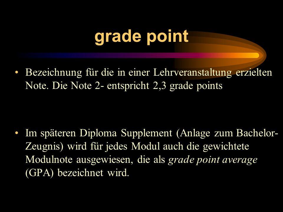 grade point Bezeichnung für die in einer Lehrveranstaltung erzielten Note. Die Note 2- entspricht 2,3 grade points Im späteren Diploma Supplement (Anl