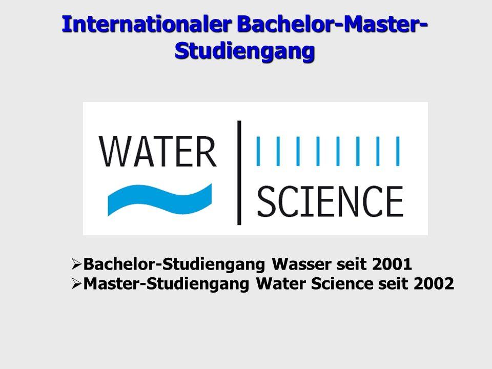 Bachelor-Studiengang Wasser seit 2001 Master-Studiengang Water Science seit 2002 Internationaler Bachelor-Master- Studiengang