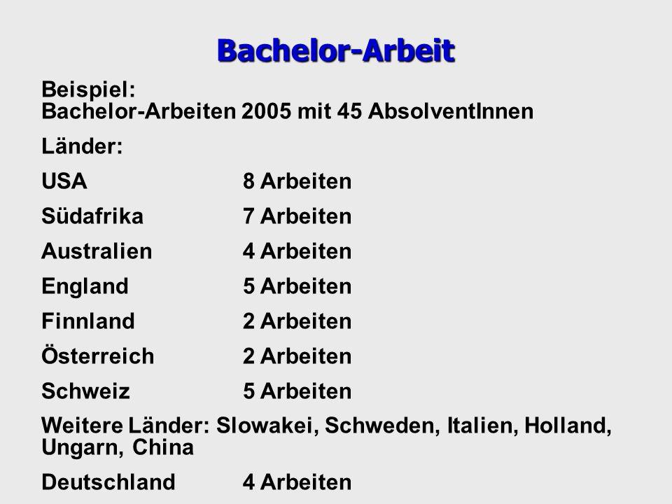 Beispiel: Bachelor-Arbeiten 2005 mit 45 AbsolventInnen Länder: USA8 Arbeiten Südafrika7 Arbeiten Australien4 Arbeiten England5 Arbeiten Finnland2 Arbe