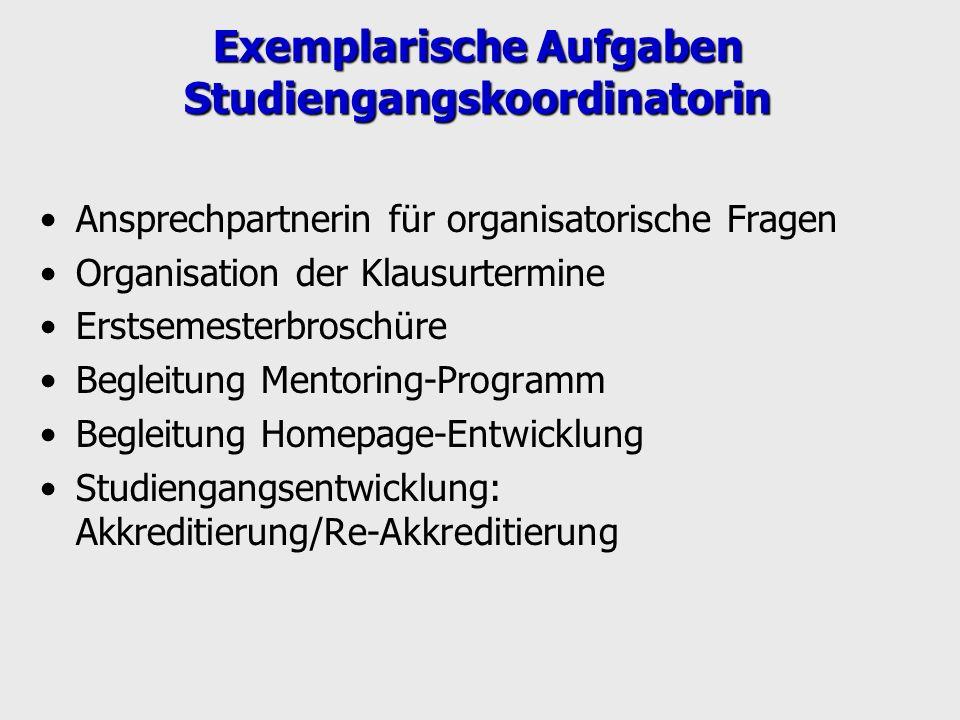 Exemplarische Aufgaben Studiengangskoordinatorin Ansprechpartnerin für organisatorische Fragen Organisation der Klausurtermine Erstsemesterbroschüre B
