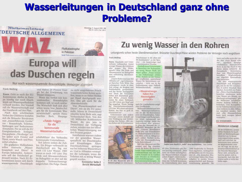 Wasserleitungen in Deutschland ganz ohne Probleme?