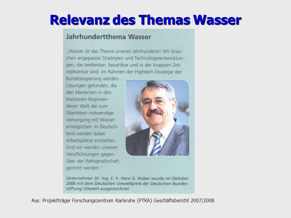 Relevanz des Themas Wasser Aus: Projektträger Forschungszentrum Karlsruhe (PTKA) Geschäftsbericht 2007/2008