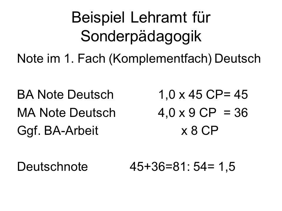 Beispiel Lehramt für Sonderpädagogik Note im 1. Fach (Komplementfach) Deutsch BA Note Deutsch1,0 x 45 CP= 45 MA Note Deutsch4,0 x 9 CP = 36 Ggf. BA-Ar