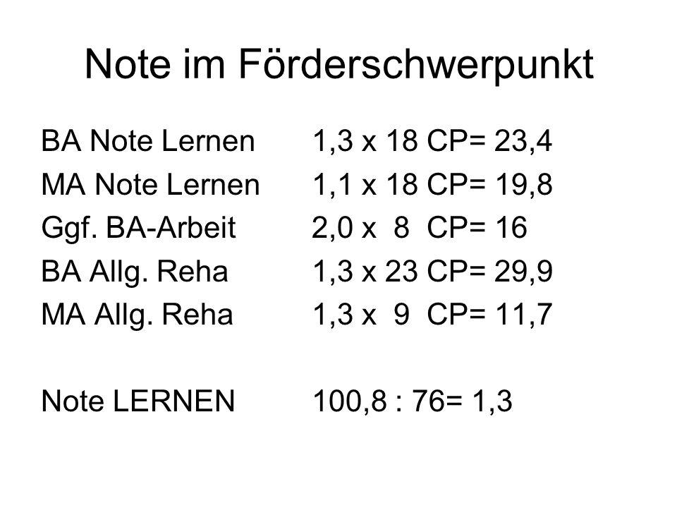 Note im Förderschwerpunkt BA Note Lernen1,3 x 18 CP= 23,4 MA Note Lernen1,1 x 18 CP= 19,8 Ggf. BA-Arbeit2,0 x 8 CP= 16 BA Allg. Reha1,3 x 23 CP= 29,9