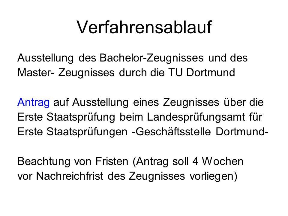 Verfahrensablauf Ausstellung des Bachelor-Zeugnisses und des Master- Zeugnisses durch die TU Dortmund Antrag auf Ausstellung eines Zeugnisses über die
