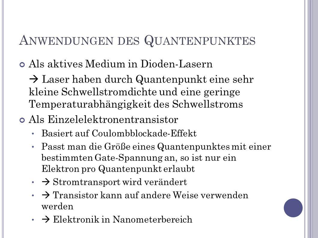 A NWENDUNGEN DES Q UANTENPUNKTES Als aktives Medium in Dioden-Lasern Laser haben durch Quantenpunkt eine sehr kleine Schwellstromdichte und eine gerin