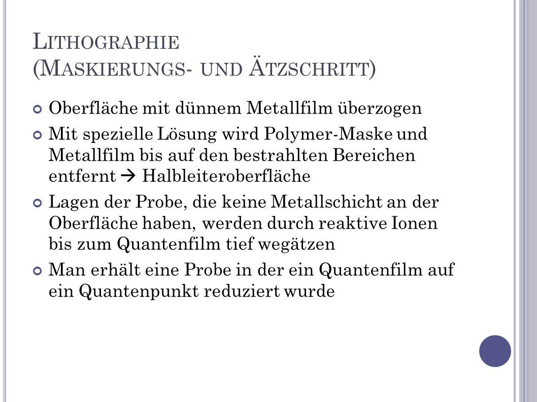 L ITHOGRAPHIE (M ASKIERUNGS - UND Ä TZSCHRITT ) Oberfläche mit dünnem Metallfilm überzogen Mit spezielle Lösung wird Polymer-Maske und Metallfilm bis