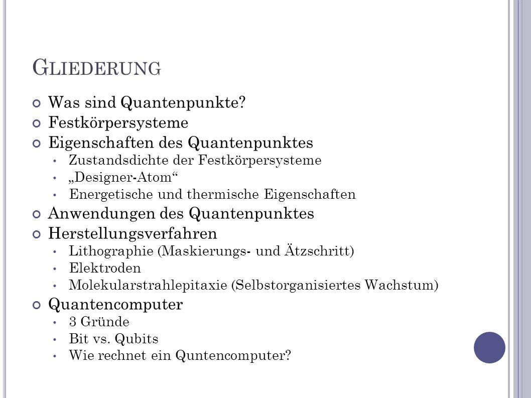 G LIEDERUNG Was sind Quantenpunkte? Festkörpersysteme Eigenschaften des Quantenpunktes Zustandsdichte der Festkörpersysteme Designer-Atom Energetische
