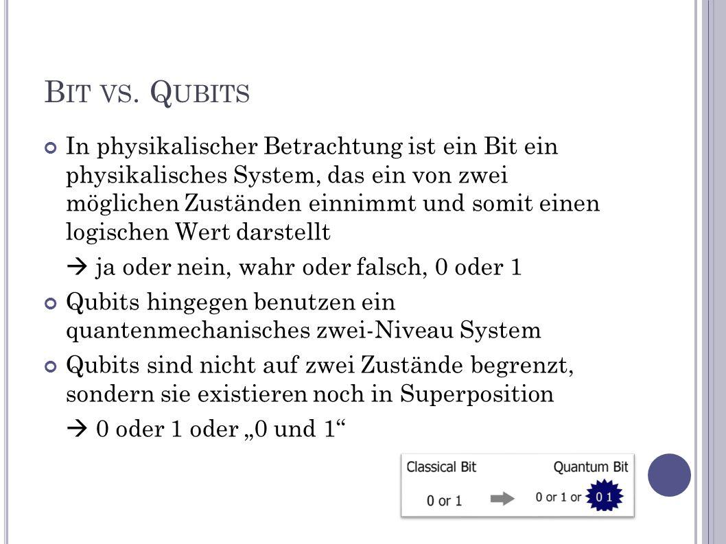 B IT VS. Q UBITS In physikalischer Betrachtung ist ein Bit ein physikalisches System, das ein von zwei möglichen Zuständen einnimmt und somit einen lo