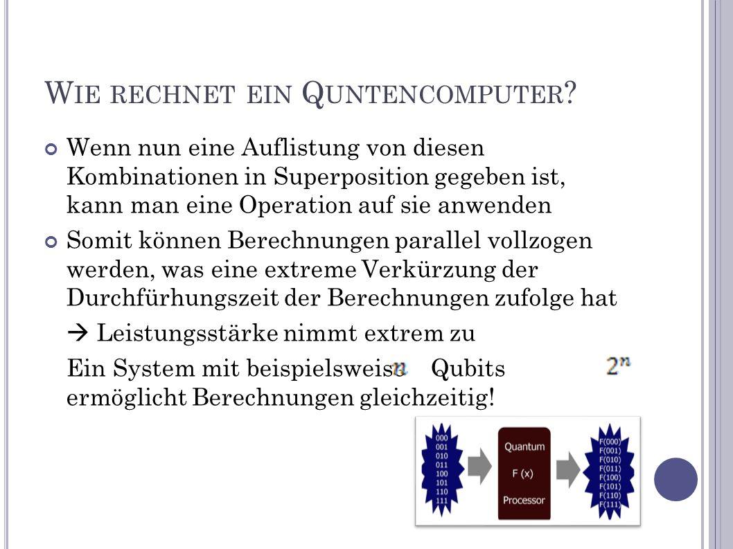 W IE RECHNET EIN Q UNTENCOMPUTER ? Wenn nun eine Auflistung von diesen Kombinationen in Superposition gegeben ist, kann man eine Operation auf sie anw