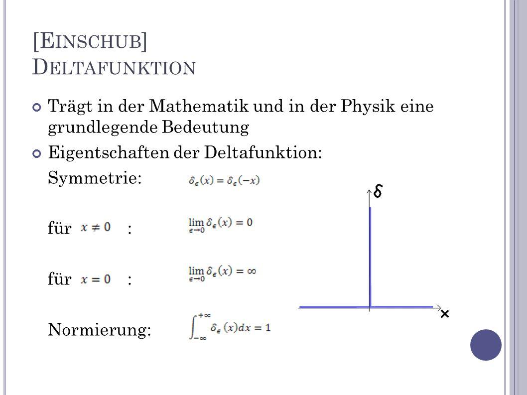[E INSCHUB ] D ELTAFUNKTION Trägt in der Mathematik und in der Physik eine grundlegende Bedeutung Eigentschaften der Deltafunktion: Symmetrie: für: No
