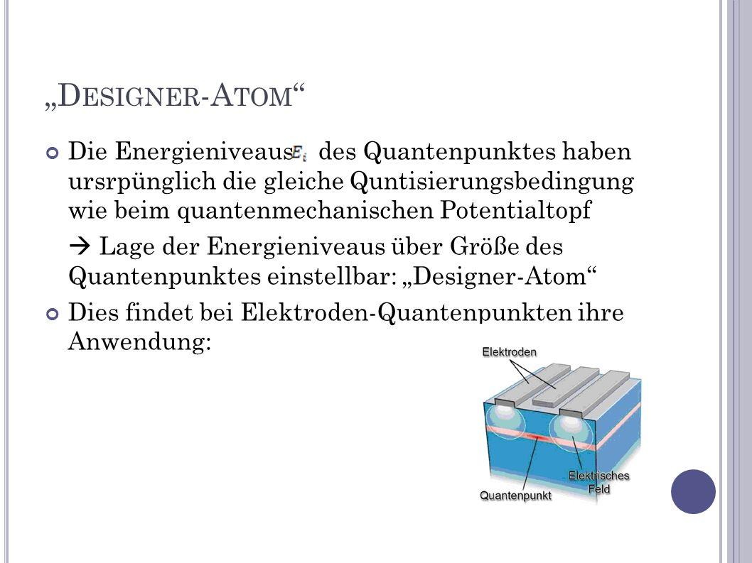 D ESIGNER -A TOM Die Energieniveausdes Quantenpunktes haben ursrpünglich die gleiche Quntisierungsbedingung wie beim quantenmechanischen Potentialtopf