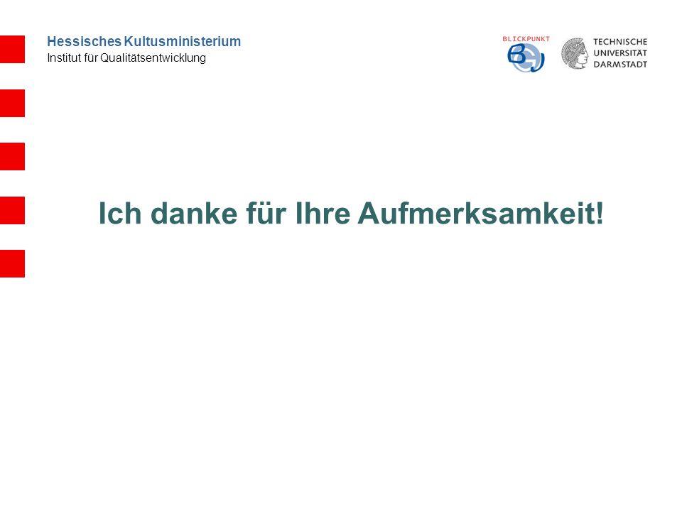 Hessisches Kultusministerium Institut für Qualitätsentwicklung Ich danke für Ihre Aufmerksamkeit!