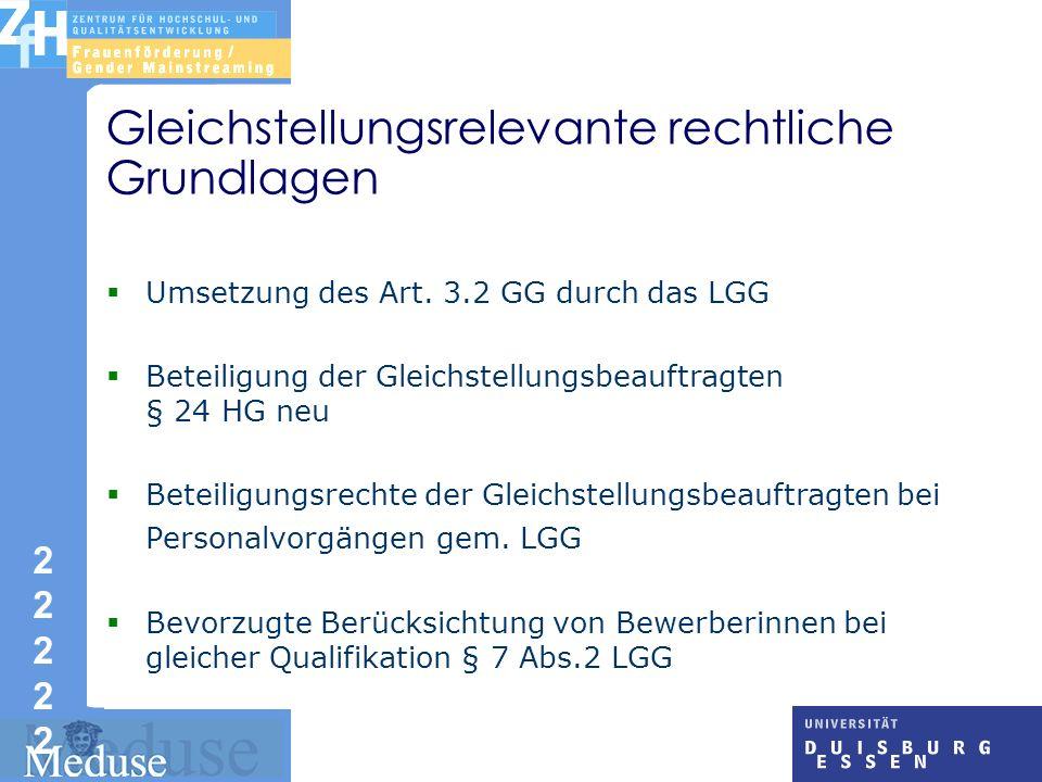 2 2 2222222222 Gleichstellungsrelevante rechtliche Grundlagen Umsetzung des Art.