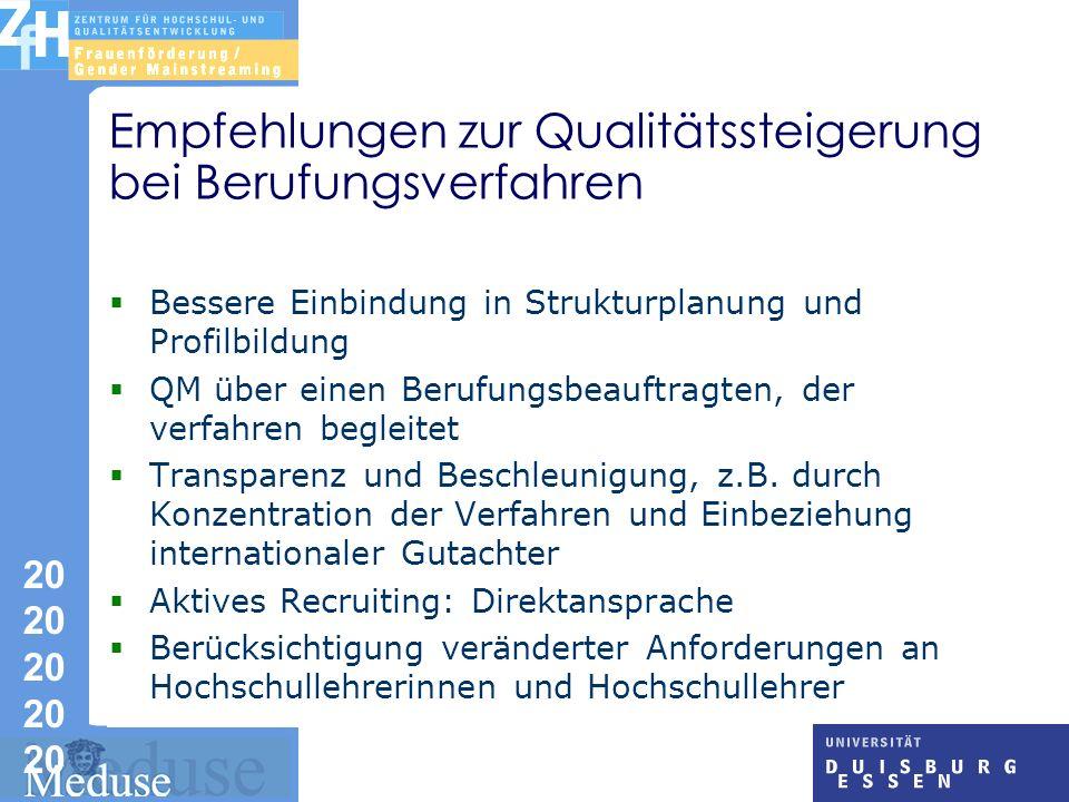 20 20 20 20 20 Empfehlungen zur Qualitätssteigerung bei Berufungsverfahren Bessere Einbindung in Strukturplanung und Profilbildung QM über einen Berufungsbeauftragten, der verfahren begleitet Transparenz und Beschleunigung, z.B.