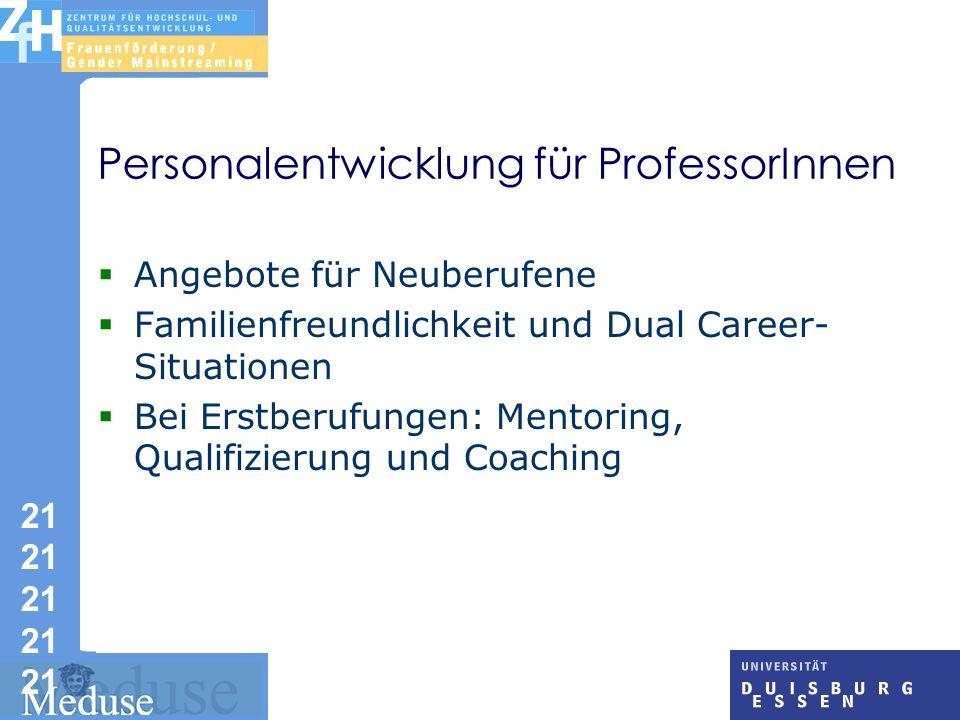 21 21 21 21 21 Personalentwicklung für ProfessorInnen Angebote für Neuberufene Familienfreundlichkeit und Dual Career- Situationen Bei Erstberufungen: Mentoring, Qualifizierung und Coaching