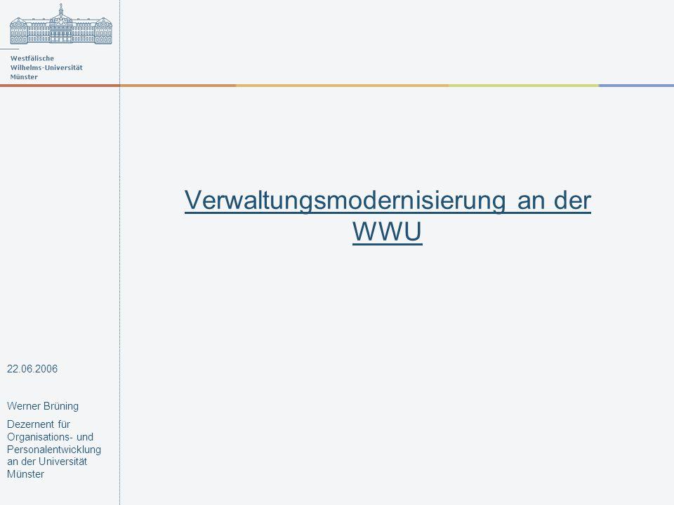 Verwaltungsmodernisierung an der WWU Maßnahmen Prozesse über die Grenzen der Einheiten hinweg optimieren Prozesse in den zentralen und dezentralen Einheiten optimieren 22.06.2006 Werner Brüning Dezernent für Organisations- und Personalentwicklung an der Universität Münster