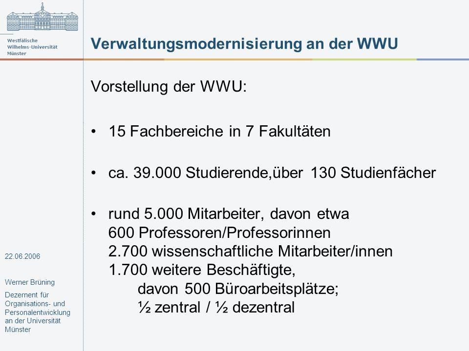 Verwaltungsmodernisierung an der WWU Vorstellung der WWU: 15 Fachbereiche in 7 Fakultäten ca. 39.000 Studierende,über 130 Studienfächer rund 5.000 Mit