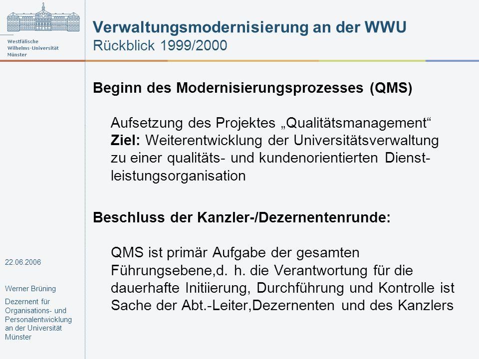 Verwaltungsmodernisierung an der WWU Rückblick 1999/2000 Beginn des Modernisierungsprozesses (QMS) Aufsetzung des Projektes Qualitätsmanagement Ziel: