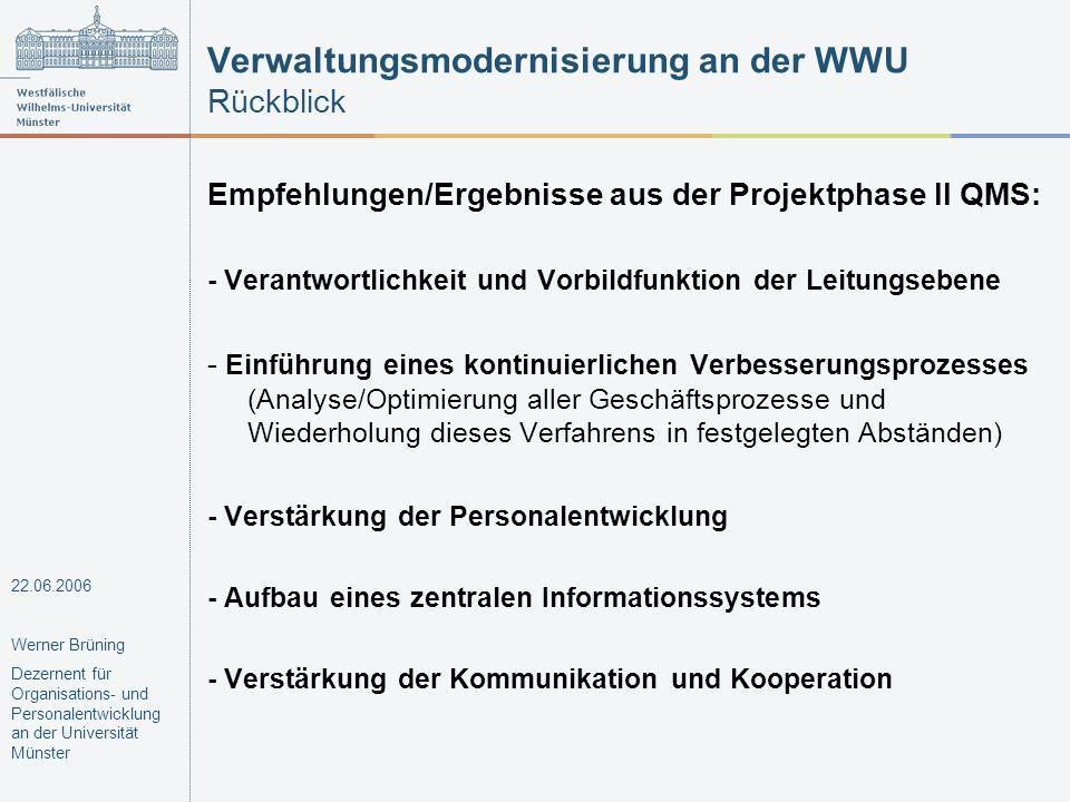Verwaltungsmodernisierung an der WWU breite Beteiligung Verbesserungsvorschläge Projektgruppen klare Projektstruktur zentrale Begleitung des Prozesses eindeutige Verantwortlichkeiten für die Umsetzung in Bewegung bringen (Teil-)Ergebnisse sichern 22.06.2006 Werner Brüning Dezernent für Organisations- und Personalentwicklung an der Universität Münster Methoden und Werkzeuge