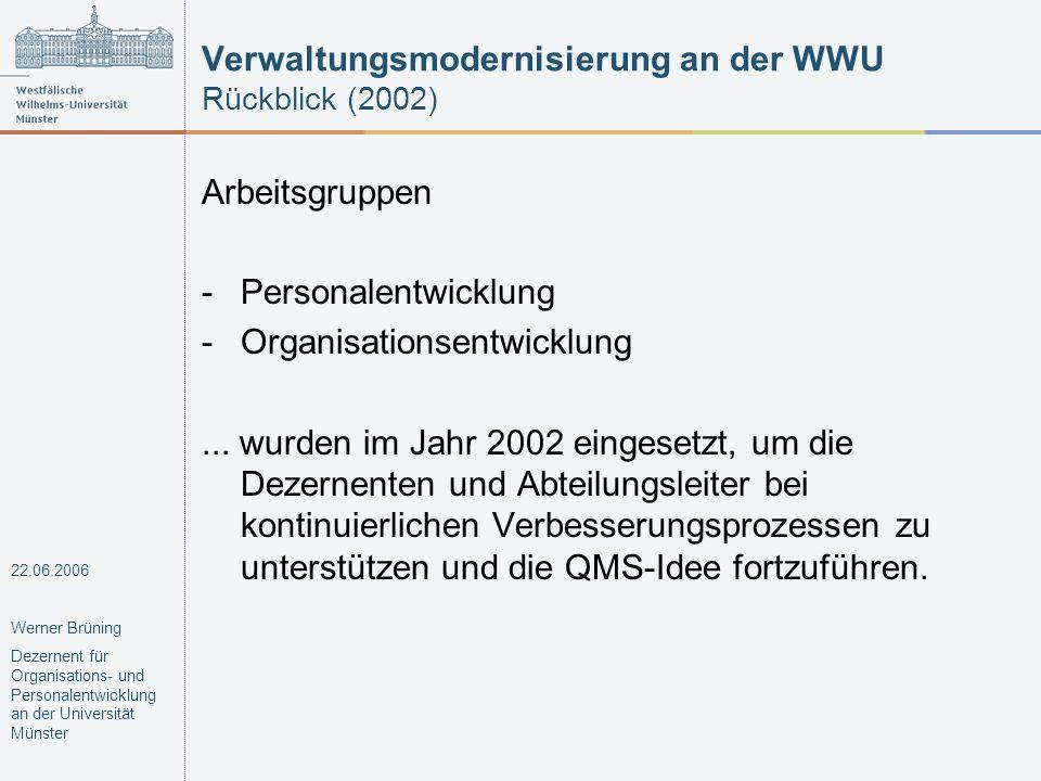 Verwaltungsmodernisierung an der WWU Rückblick (2002) Arbeitsgruppen -Personalentwicklung -Organisationsentwicklung... wurden im Jahr 2002 eingesetzt,