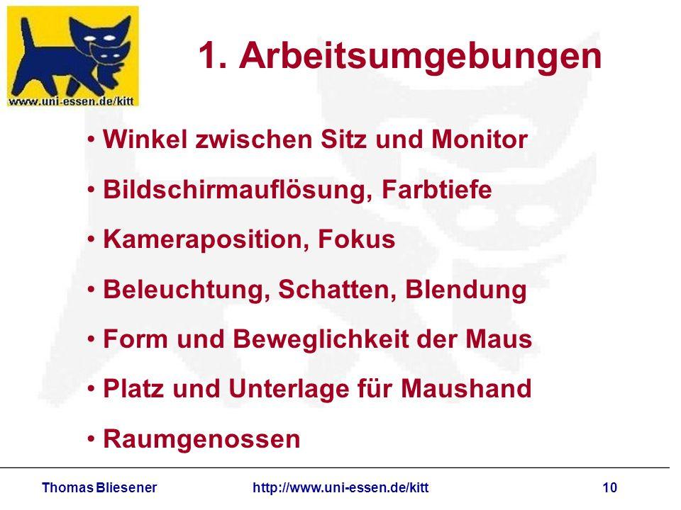 Thomas Bliesenerhttp://www.uni-essen.de/kitt10 1. Arbeitsumgebungen Winkel zwischen Sitz und Monitor Bildschirmauflösung, Farbtiefe Kameraposition, Fo