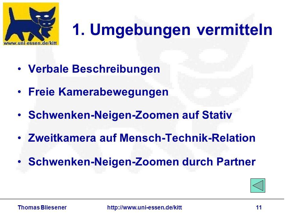 Thomas Bliesenerhttp://www.uni-essen.de/kitt11 1. Umgebungen vermitteln Verbale Beschreibungen Freie Kamerabewegungen Schwenken-Neigen-Zoomen auf Stat
