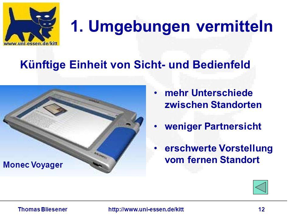 Thomas Bliesenerhttp://www.uni-essen.de/kitt12 1. Umgebungen vermitteln mehr Unterschiede zwischen Standorten weniger Partnersicht erschwerte Vorstell