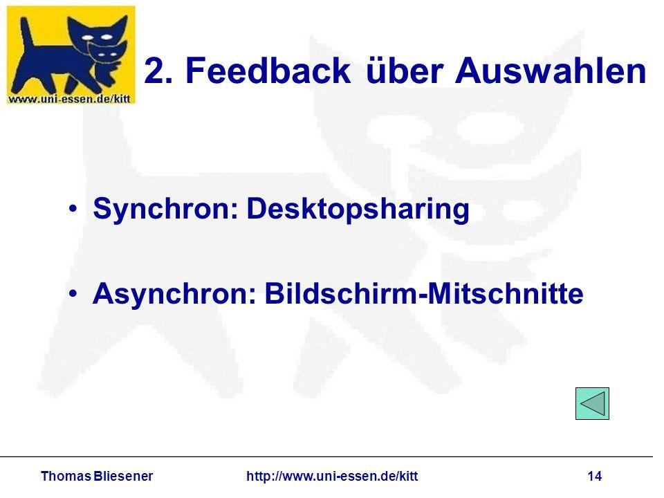 Thomas Bliesenerhttp://www.uni-essen.de/kitt14 2. Feedback über Auswahlen Synchron: Desktopsharing Asynchron: Bildschirm-Mitschnitte
