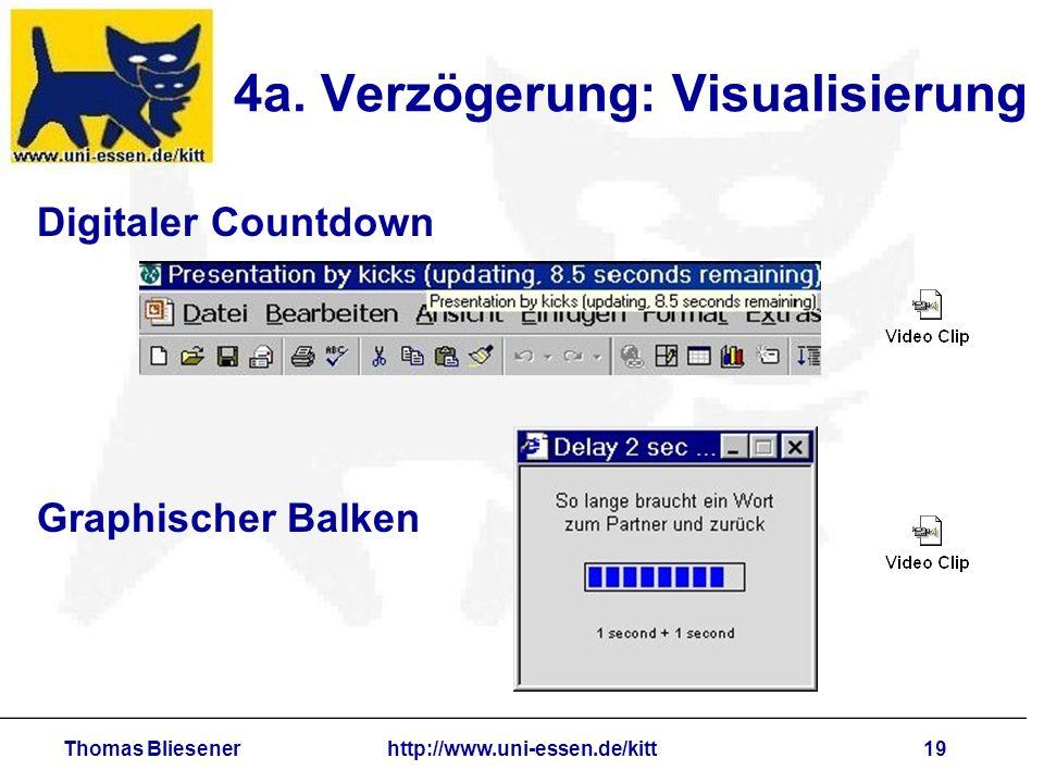 Thomas Bliesenerhttp://www.uni-essen.de/kitt19 4a. Verzögerung: Visualisierung Digitaler Countdown Graphischer Balken
