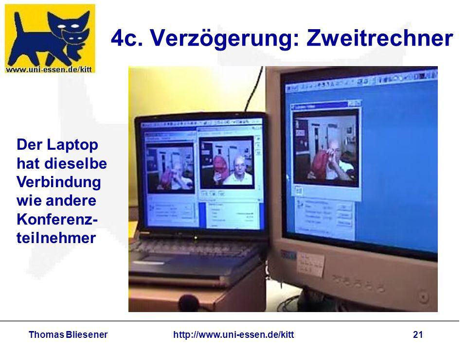 Thomas Bliesenerhttp://www.uni-essen.de/kitt21 4c. Verzögerung: Zweitrechner Der Laptop hat dieselbe Verbindung wie andere Konferenz- teilnehmer