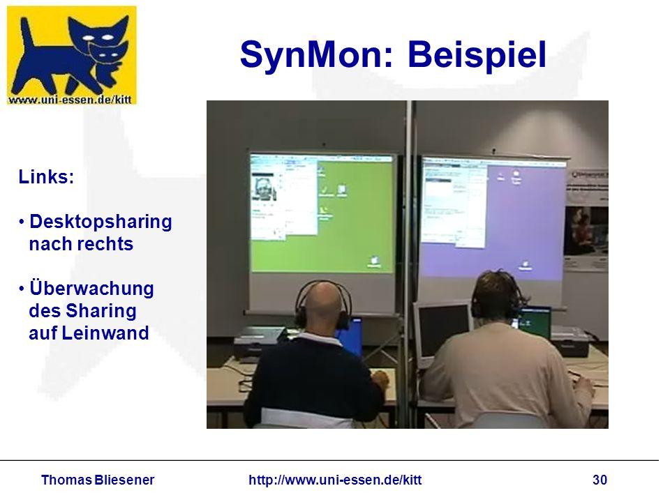 Thomas Bliesenerhttp://www.uni-essen.de/kitt30 SynMon: Beispiel Links: Desktopsharing nach rechts Überwachung des Sharing auf Leinwand