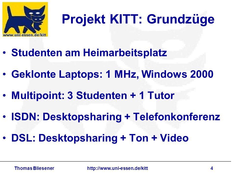 Thomas Bliesenerhttp://www.uni-essen.de/kitt5 Projekt KITT: Beispiel DSL erlaubt synchrone Antworten Kommentare Scherze Gelächter Mimiken Bewegungen