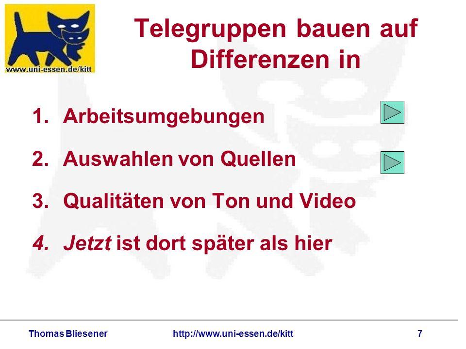 Thomas Bliesenerhttp://www.uni-essen.de/kitt8 Telegruppen bauen auf Differenzen in 1.Arbeitsumgebungen 2.Auswahlen von Quellen 3.Qualitäten von Ton und Video 4.Jetzt ist dort später als hier