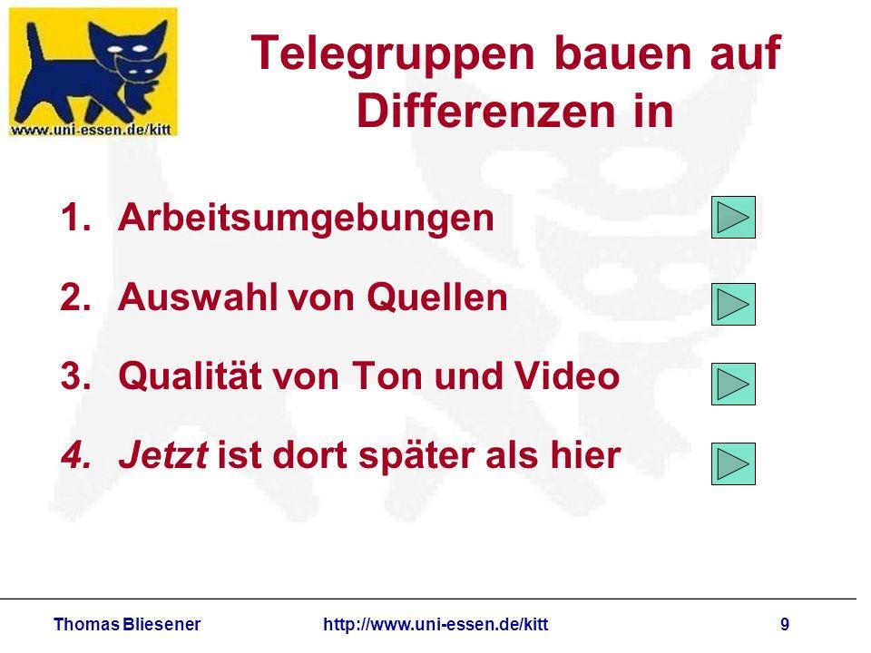 Thomas Bliesenerhttp://www.uni-essen.de/kitt9 Telegruppen bauen auf Differenzen in 1.Arbeitsumgebungen 2.Auswahl von Quellen 3.Qualität von Ton und Video 4.Jetzt ist dort später als hier
