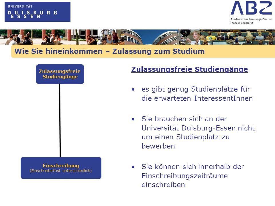 Wie Sie hineinkommen – Zulassung zum Studium Zulassungsfreie Studiengänge es gibt genug Studienplätze für die erwarteten InteressentInnen Sie brauchen