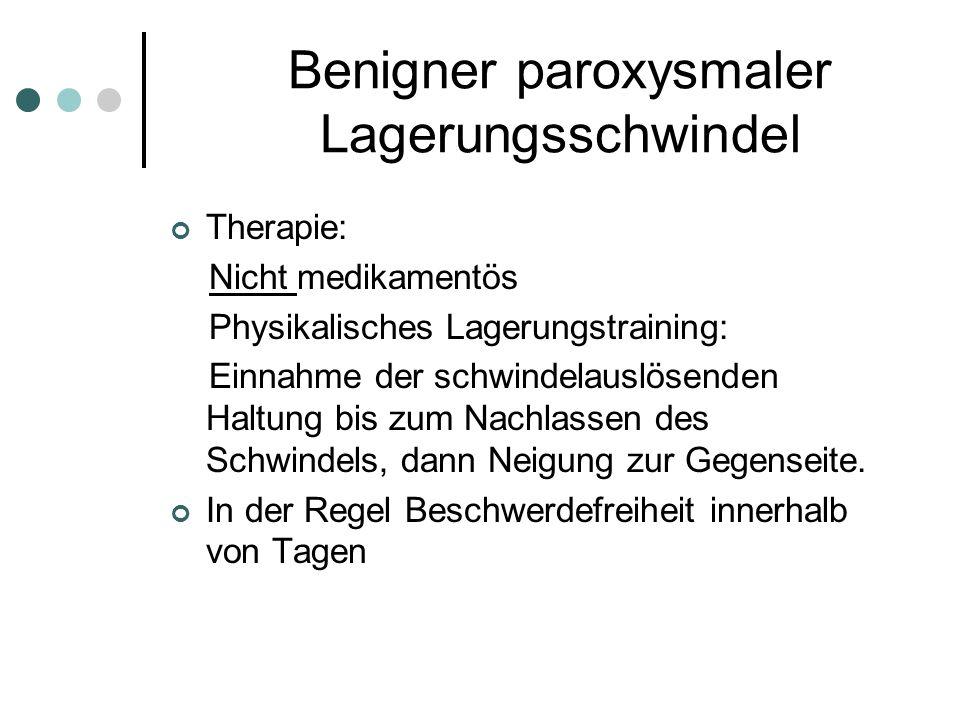 Benigner paroxysmaler Lagerungsschwindel Therapie: Nicht medikamentös Physikalisches Lagerungstraining: Einnahme der schwindelauslösenden Haltung bis