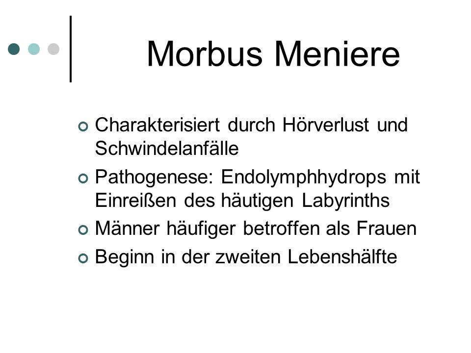 Morbus Meniere Charakterisiert durch Hörverlust und Schwindelanfälle Pathogenese: Endolymphhydrops mit Einreißen des häutigen Labyrinths Männer häufig