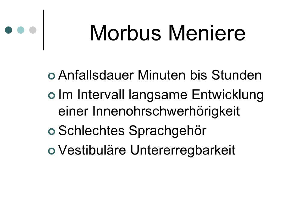 Morbus Meniere Anfallsdauer Minuten bis Stunden Im Intervall langsame Entwicklung einer Innenohrschwerhörigkeit Schlechtes Sprachgehör Vestibuläre Unt