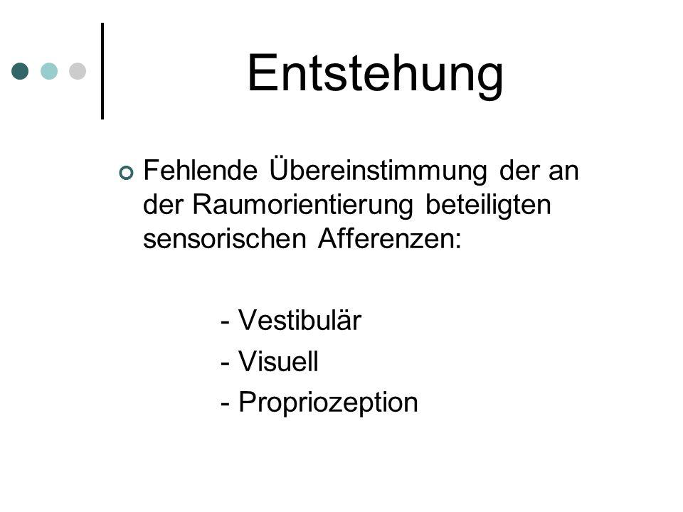 Entstehung Fehlende Übereinstimmung der an der Raumorientierung beteiligten sensorischen Afferenzen: - Vestibulär - Visuell - Propriozeption