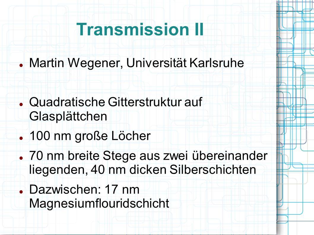 Transmission II Martin Wegener, Universität Karlsruhe Quadratische Gitterstruktur auf Glasplättchen 100 nm große Löcher 70 nm breite Stege aus zwei üb