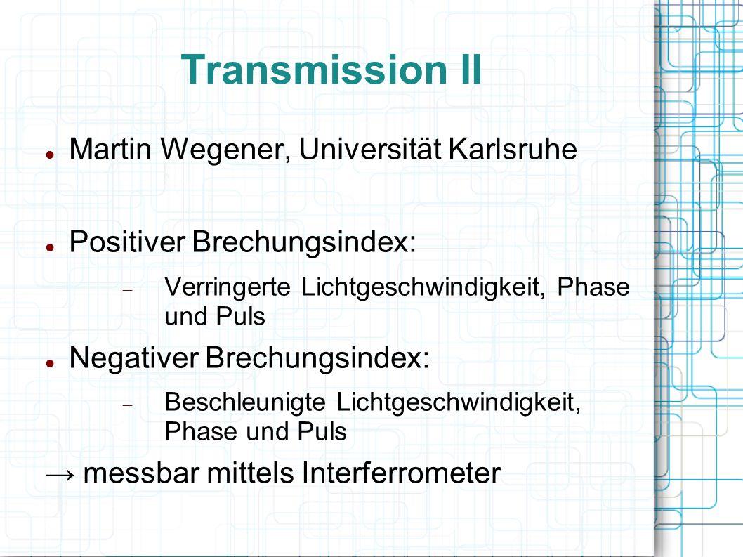 Transmission II Martin Wegener, Universität Karlsruhe Positiver Brechungsindex: Verringerte Lichtgeschwindigkeit, Phase und Puls Negativer Brechungsin