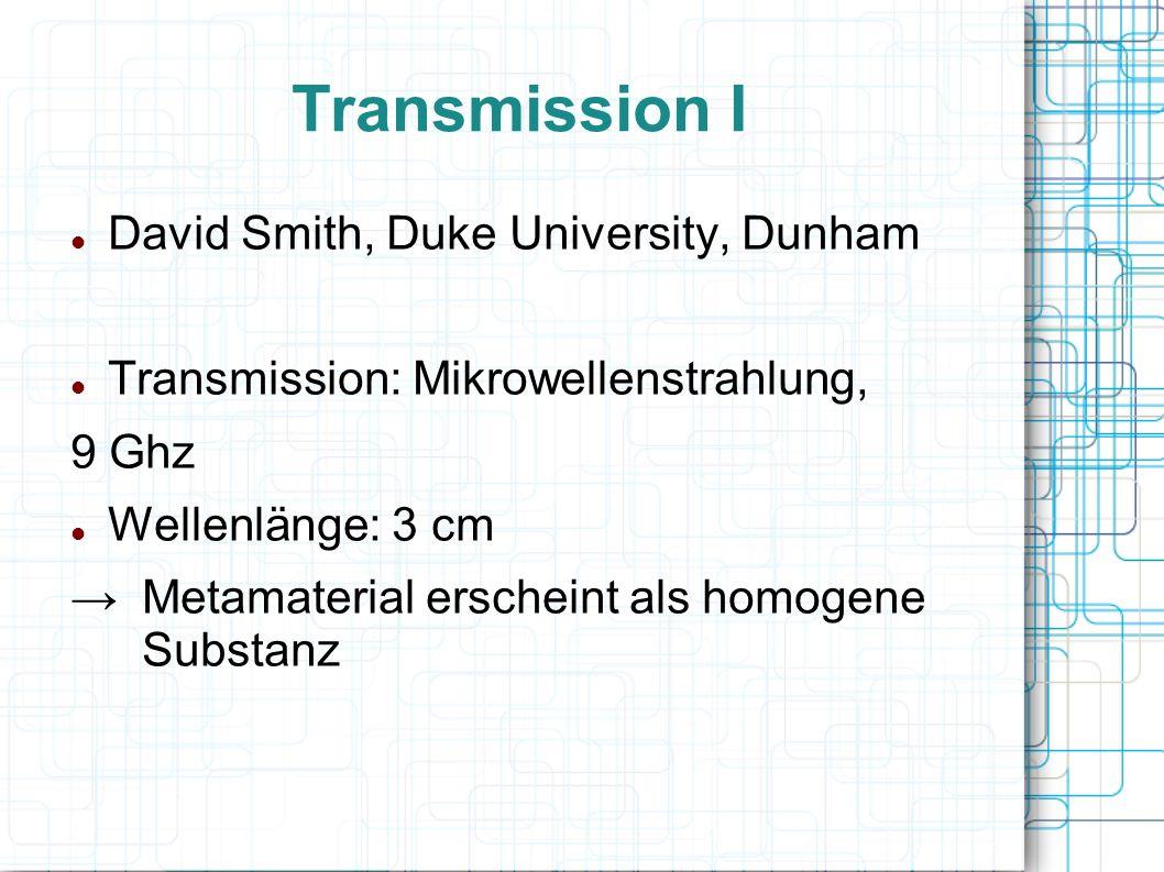 Transmission I David Smith, Duke University, Dunham Transmission: Mikrowellenstrahlung, 9 Ghz Wellenlänge: 3 cm Metamaterial erscheint als homogene Su