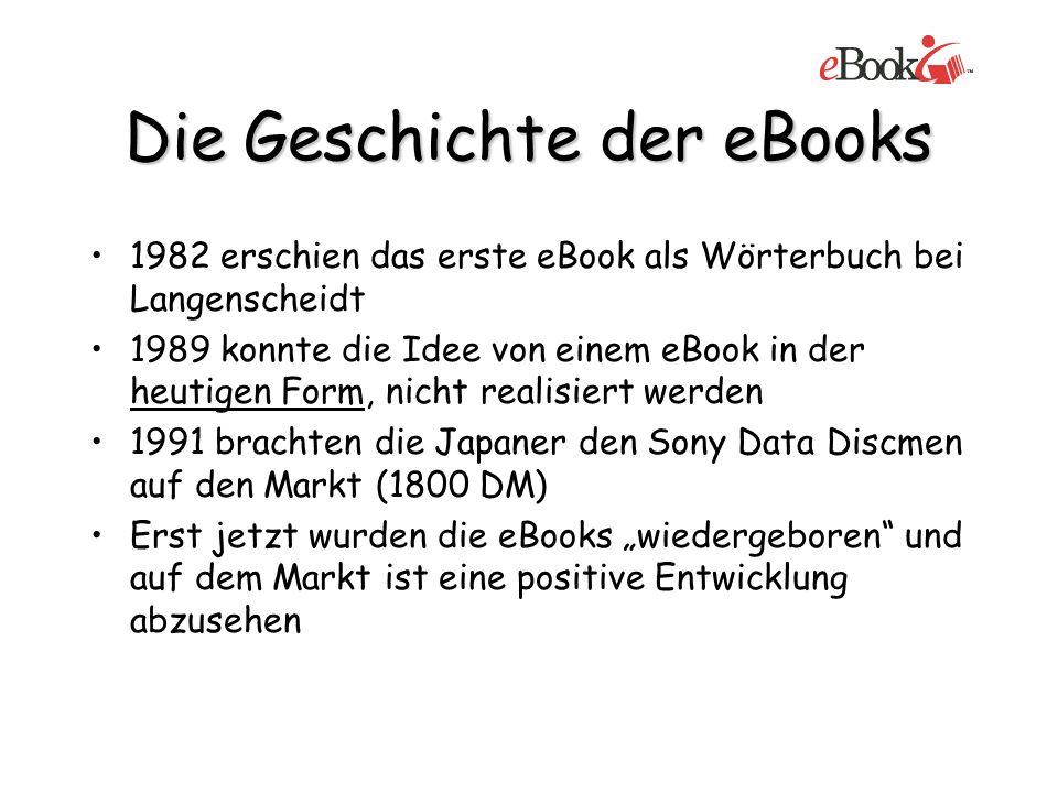 Die Geschichte der eBooks 1982 erschien das erste eBook als Wörterbuch bei Langenscheidt 1989 konnte die Idee von einem eBook in der heutigen Form, ni