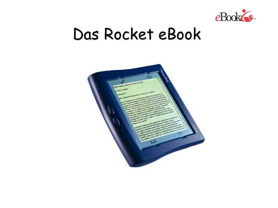 Gewicht:627 Gramm Speicher:16 MB Akku:20 Stunden mit Hintergrundbeleuchtung 40 Stunden ohne Hintergrundbeleuchtung Bildschirm:schwarz-weiß Kommunikation:Verbindung mit PC über die Software RocketLibrarian Preis:199,- Euro