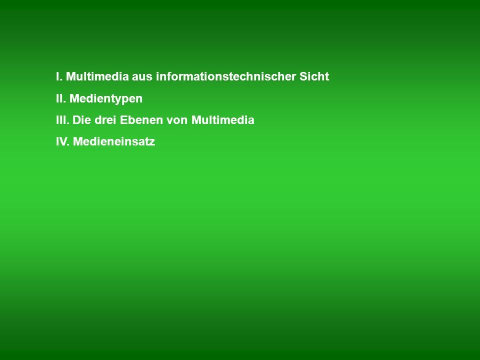 Multimedia aus informationstechnischer Sicht: Computerprogramm oder Programmsystem, das neben Bild und Text (a) mindestens ein zeitabhängiges Medium (Video, Ton, Animation und Simulation), (b) sowie Möglichkeiten zur direkten Beeinflussung der Informationsdarbietung bietet.