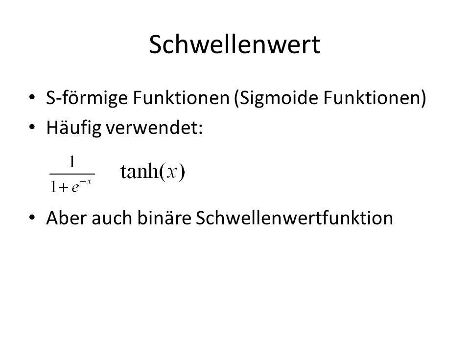 Schwellenwert S-förmige Funktionen (Sigmoide Funktionen) Häufig verwendet: Aber auch binäre Schwellenwertfunktion